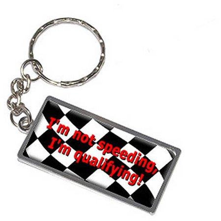 I'm Not Speeding I'm Qualifying Checkered Flag Keychain Key Chain - Checkered Flag Ring