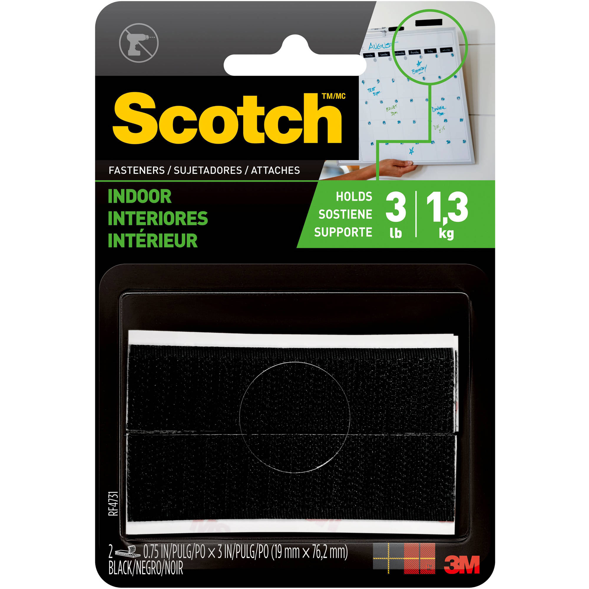 Scotch Indoor Fasteners, 3/4 in. x 3 in., Black, 2 Sets/Pack