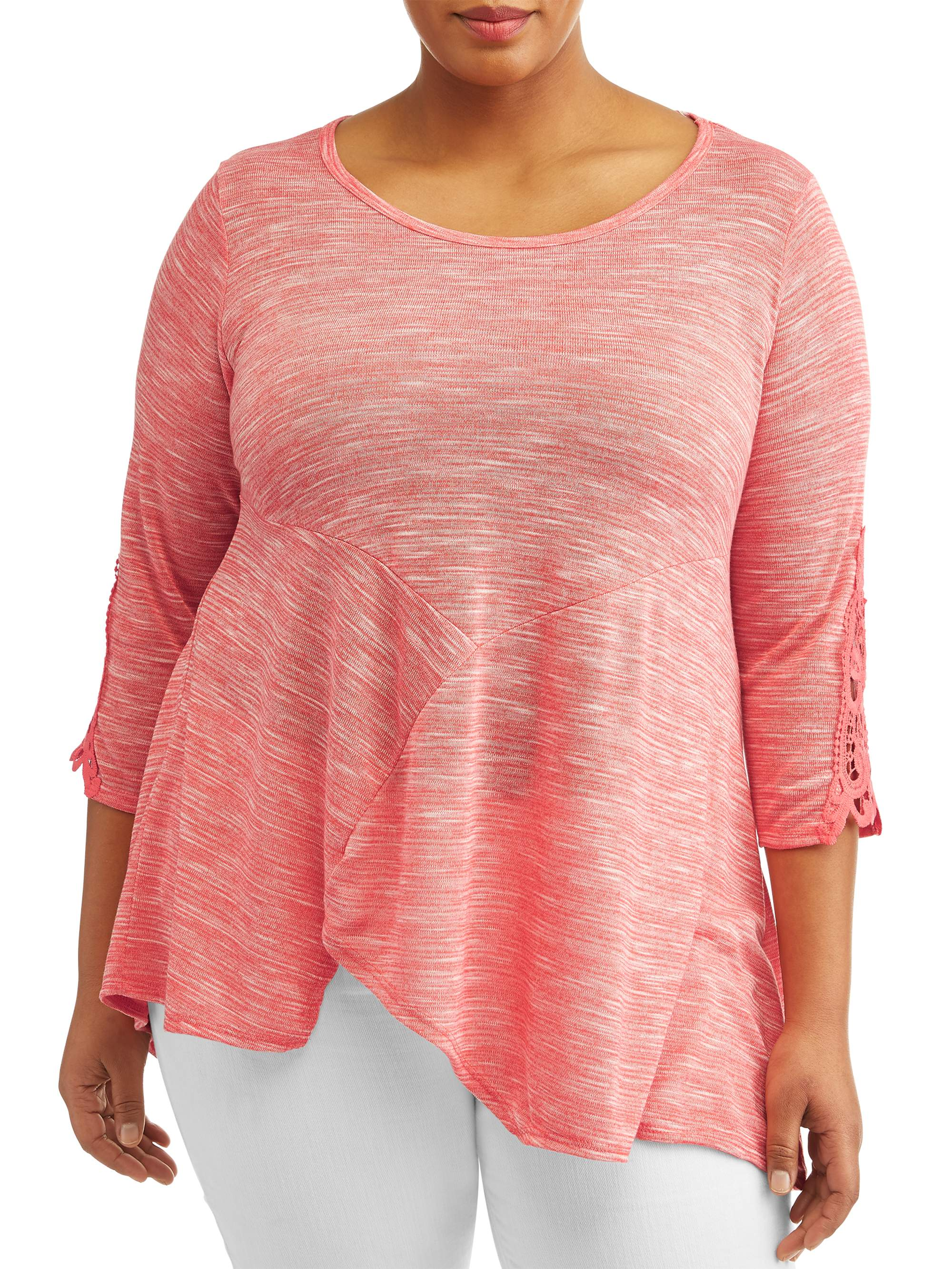 Women's Plus Size Elbow Sleeve Tunic Top With Crochet