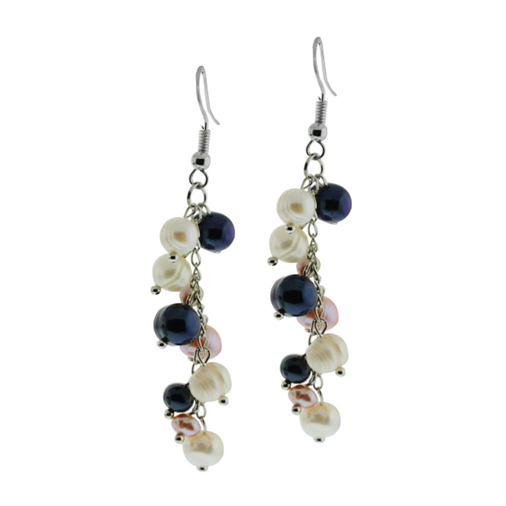"2.5"" Multi-Color Cultured Freshwater Pearl Dangle Earrings"