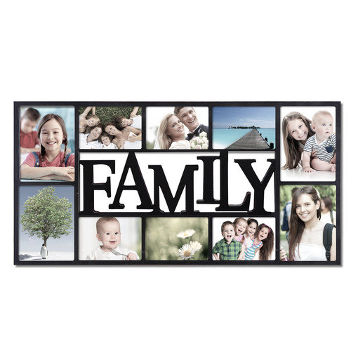 Adeco Trading 10 Opening Decorative ''Family'' Wall Hanging Collage Picture Frame