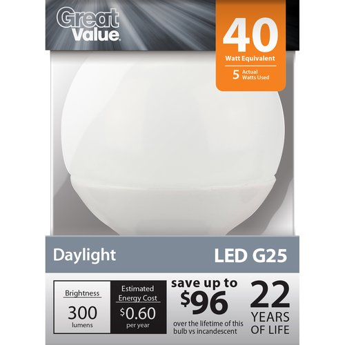 Great Value LED Light Bulb 5W (40W Equivalent) G25 (E26), Daylight