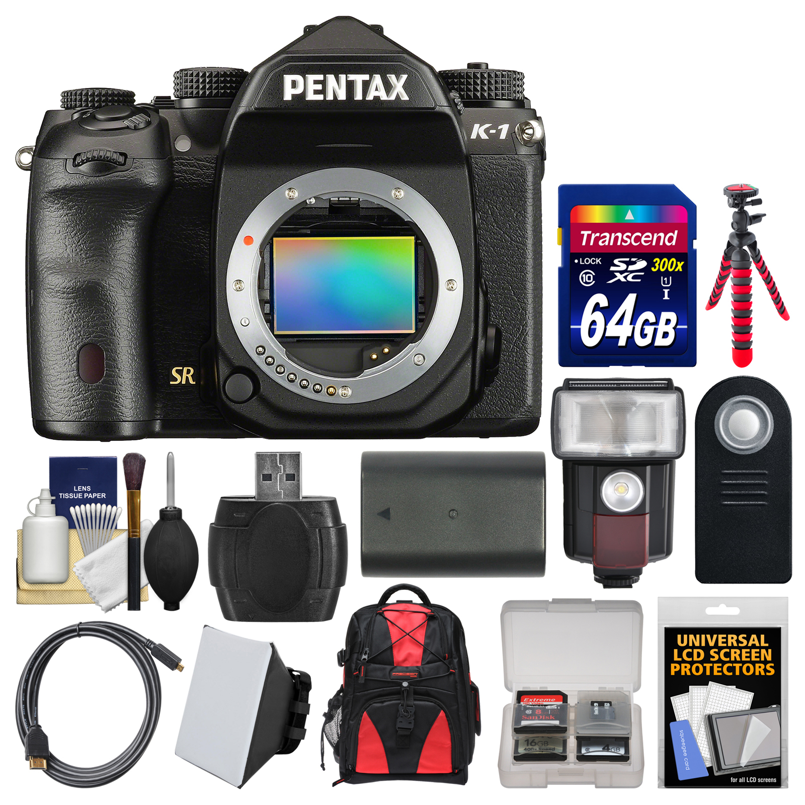 Pentax K-1 Full Frame Wi-Fi Digital SLR Camera Body with 64GB Card + Case + Flash + Soft Box + Battery + Flex Tripod + Kit