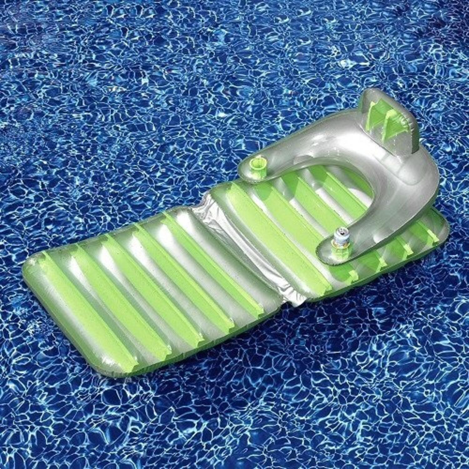 "74"" Gray and Green Inflatable Swimming Pool Folding Lounge Chair Float"