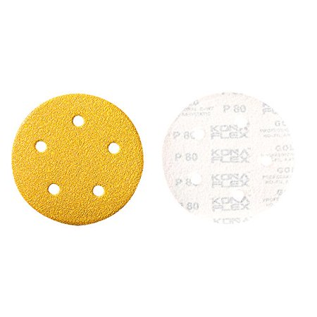 Mercer Industries 5535150 Hook   Loop Premium Gold Stearated Non Loading Disc  Aluminum Oxide  5   X 5 Dust Holes  Grit 150C  50 Pack