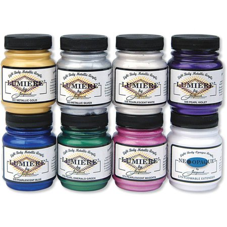 Jacquard Lumiere Metallic Acrylic Paint, 2.25 oz, 8pk (Metallic Fabric Paint)