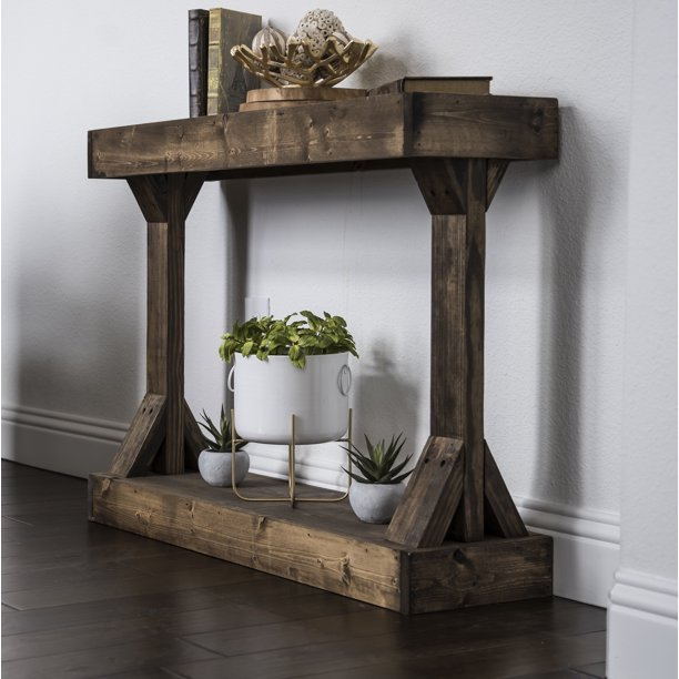 Barb Small Console Table Solid Wood by Del Hutson Designs, Dark Walnut