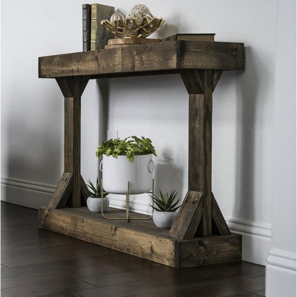 Barb Small Console Table Solid Wood by Del Hutson Designs, Dark Walnut