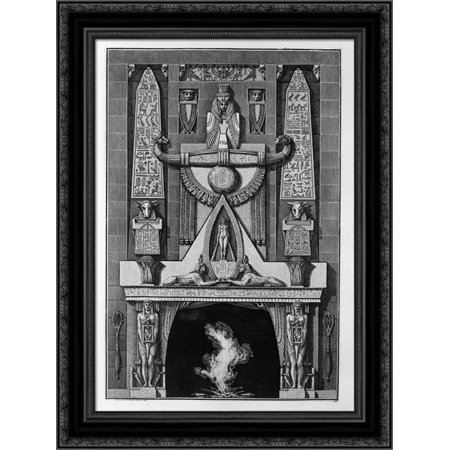 Egyptian style fireplace, on the floor between two obelisks and a number of decorative elements, two sphinxes crouching 20x24 Black Ornate Wood Framed Canvas Art by Piranesi, Giovanni Battista ()