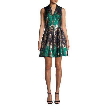 Sleeveless V-Neck Metallic Pleated Dress Sleeveless Cowl Neck Dress