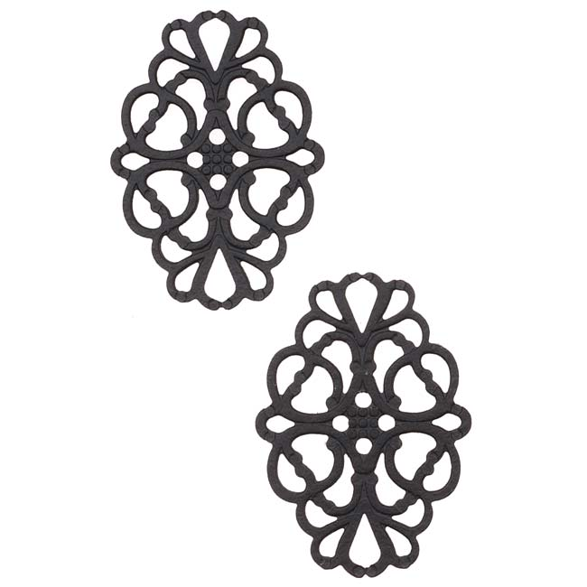 Black Color Coated Brass Filigree Stamping By Ezel - Marquise Shaped Connector Links 26mm (2)