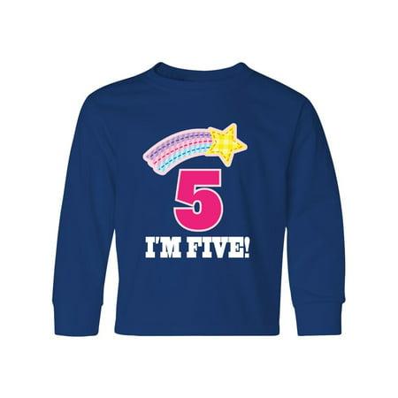 - 5th Birthday 5 Year Old Girls Rainbow Star Youth Long Sleeve T-Shirt