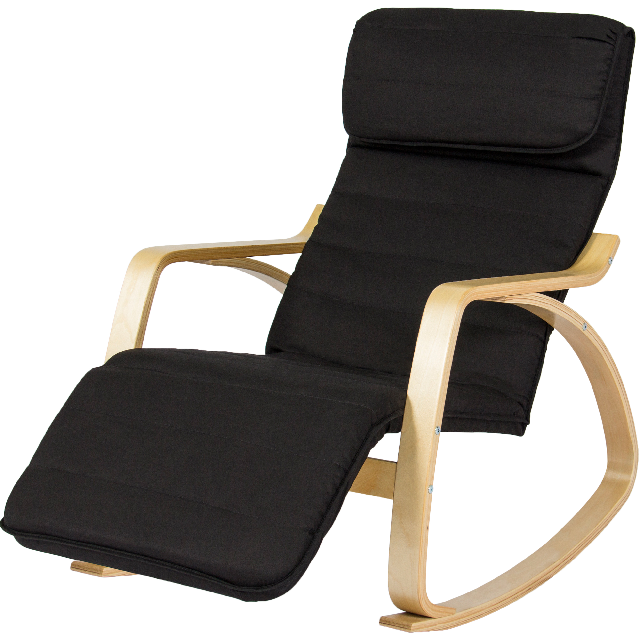Best Choice Products Birch Bentwood Cushioned Rocking Chair W/ Adjustable Leg  Rest (Black)