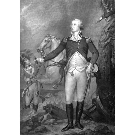 Vintage American History print of General George Washington standing near his horse at The Battle of Trenton Poster