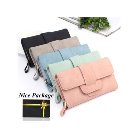 Leather Wallets for Women, Fashion Lady Soft Matte Leather Long Wallet Card Holder Purse Handbag for Women Ladies Girls Gift ()