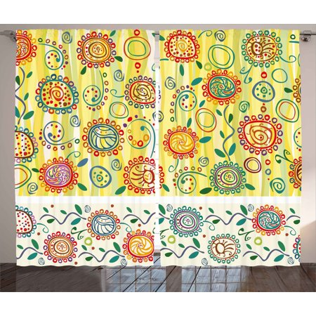 Ethnic Curtains 2 Panels Set, Floral Flower Oriental Design with Circles Dots Leaves Abstract Artwork Image Print, Window Drapes for Living Room Bedroom, 108W X 96L Inches, Multicolor, by Ambesonne