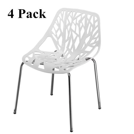 UBesGoo Set of 4 Modern Dining Chair Birds Nest Modern Stackable Plastic Hollow-Out Geometric Style Furniture Outdoor Indoor Dining Side Chair (White)