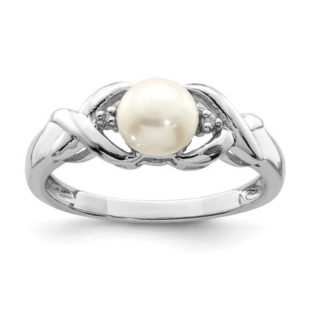 925 Sterling Silver Freshwater Cultured Button Pearl Diamond Band Ring Size 7.00 Fine Jewelry Ideal Gifts For Women Gift Set From Heart