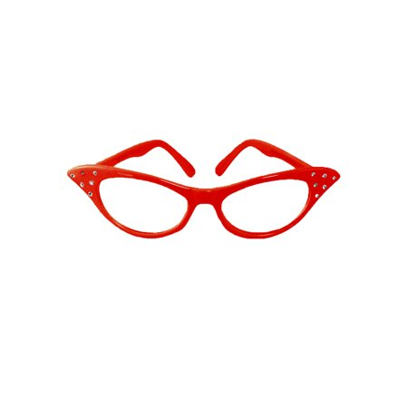 Red Cat Eye Glasses with Rhinestones - Hey Viv 50s Style](Red Eye Glass)
