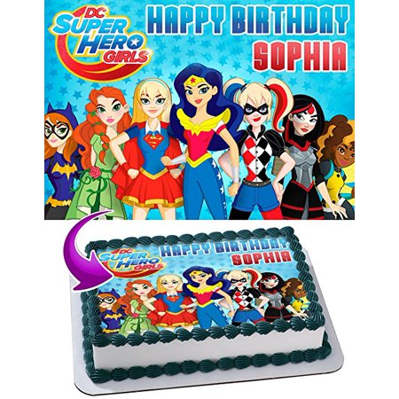 Justice Birthday League Cake Club DC Super Hero Girls Edible Image Topper Personalized Icing Sugar Paper A4 Sheet Frosting Photo
