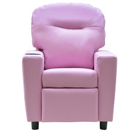 Gymax Lying Recliner Kids Sofa Armchair Pu Leather Lounge