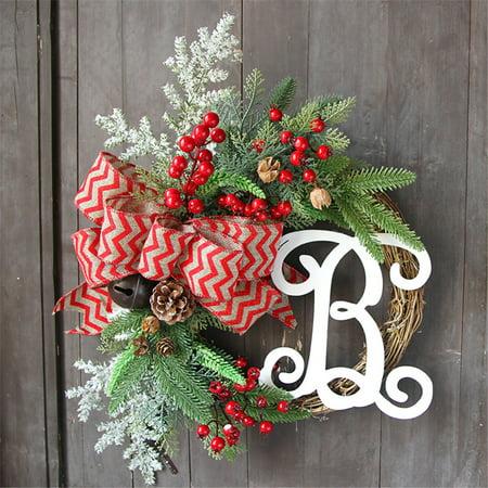 Christmas Wreath Door Wall Ornament Garland Decoration Christmas Present 37CM ()