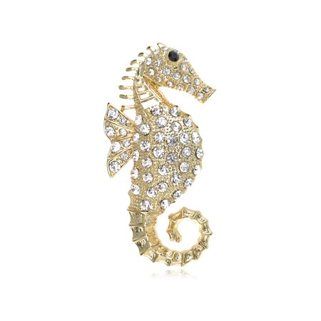 Clear Crystal Cute Golden Tone Seahorse Sea Creature Brooch Pin Costume - South Sea Womens Brooch