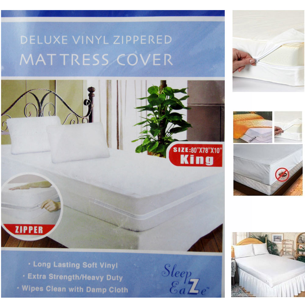 Deluxe King Size Zippered Mattress Cover Protector Dust ...