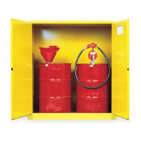 Justrite Sure-Grip EX Vertical Drum Safety Cabinet, Galvanized Steel, Yellow, 899160