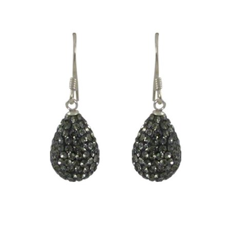 Gray Gemstone Earrings - Dlux Jewels Sterling Silver Grey Crystal Teardrop with Earrings, 10 x 14 mm
