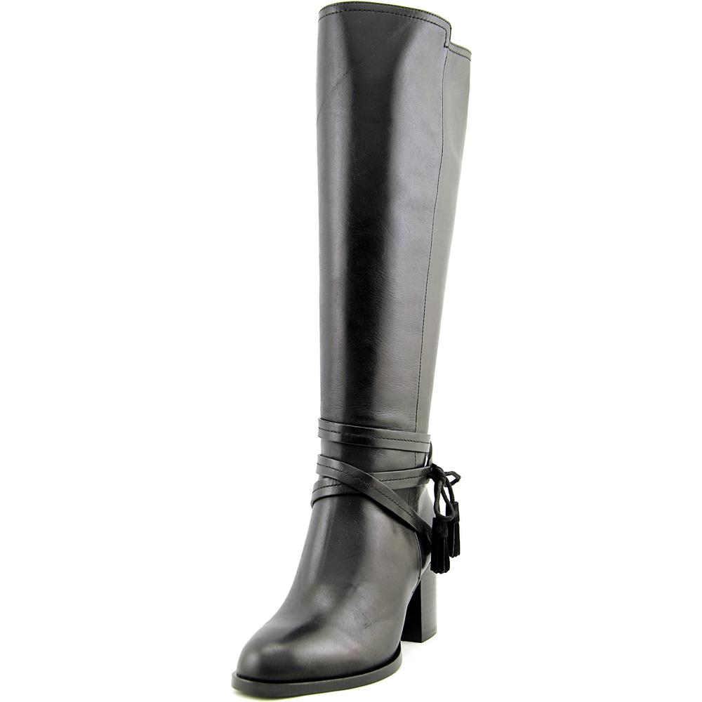 Lauren Ralph Lauren Geena Women  Round Toe Leather Black Knee High Boot
