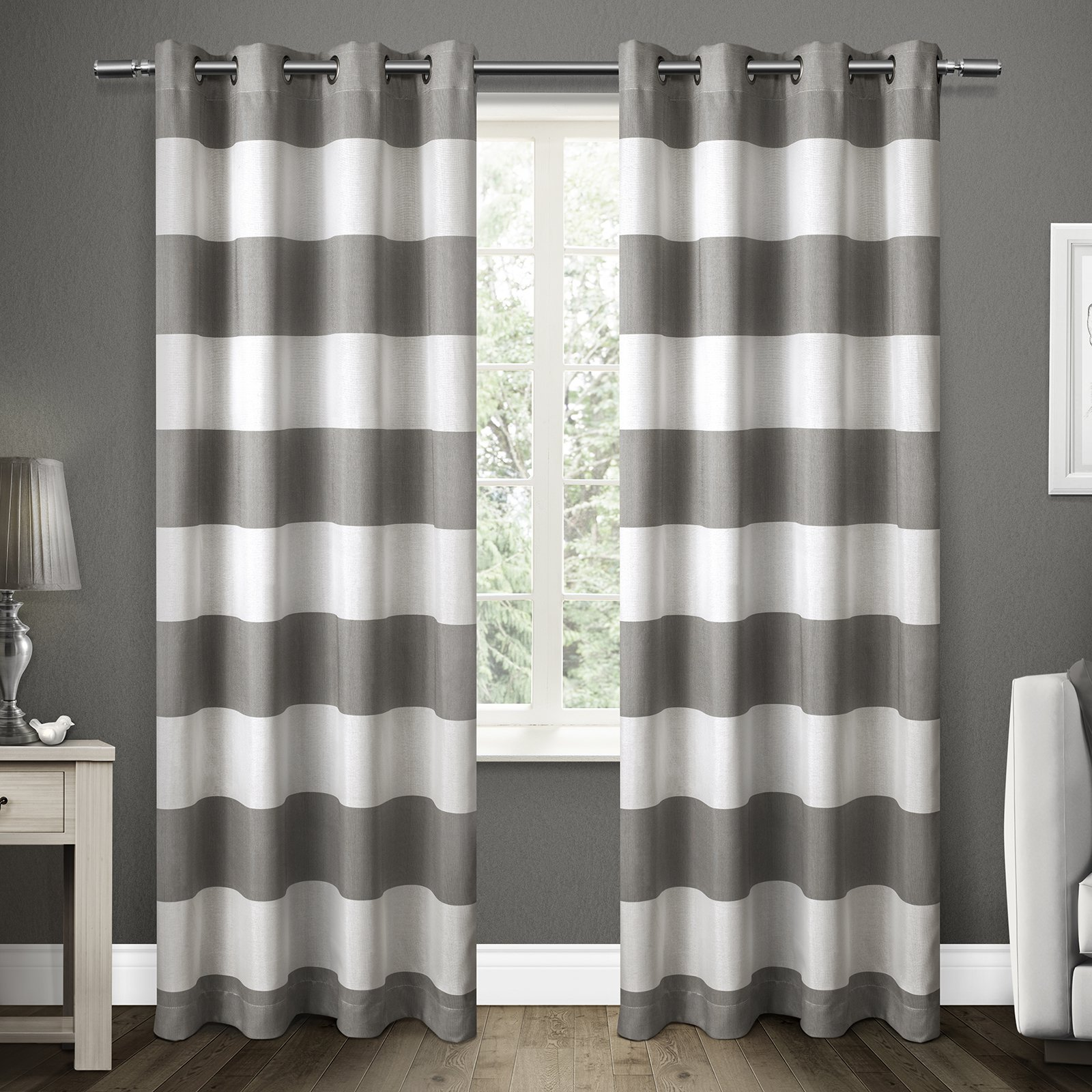 Exclusive Home Santa Monica Cabana Stripe Window Curtain Panel Pair with Grommet Top