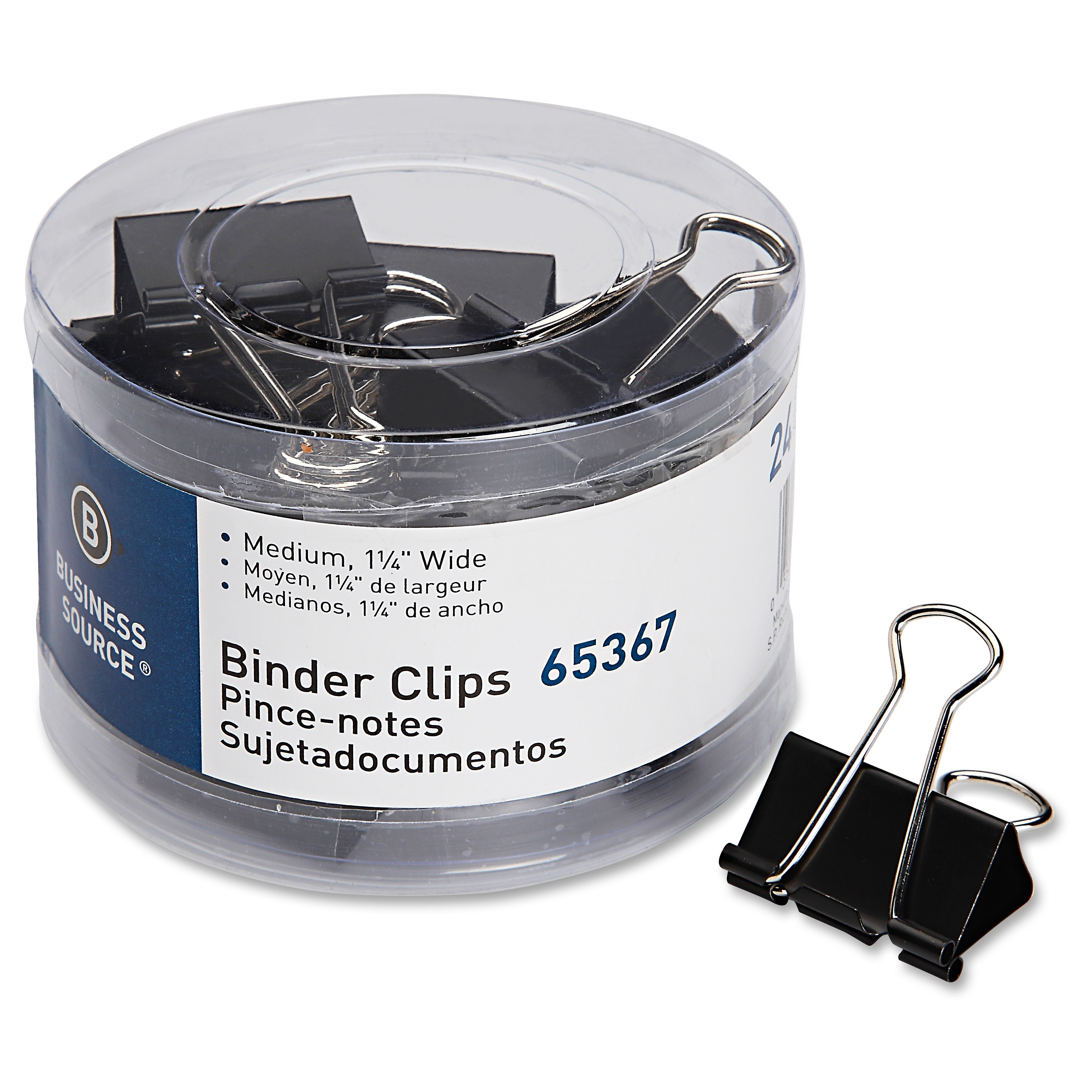 Business Source Medium 24-count Binder Clips - Medium - 24 / Pack - Black - Steel, Zinc (bsn-65367)