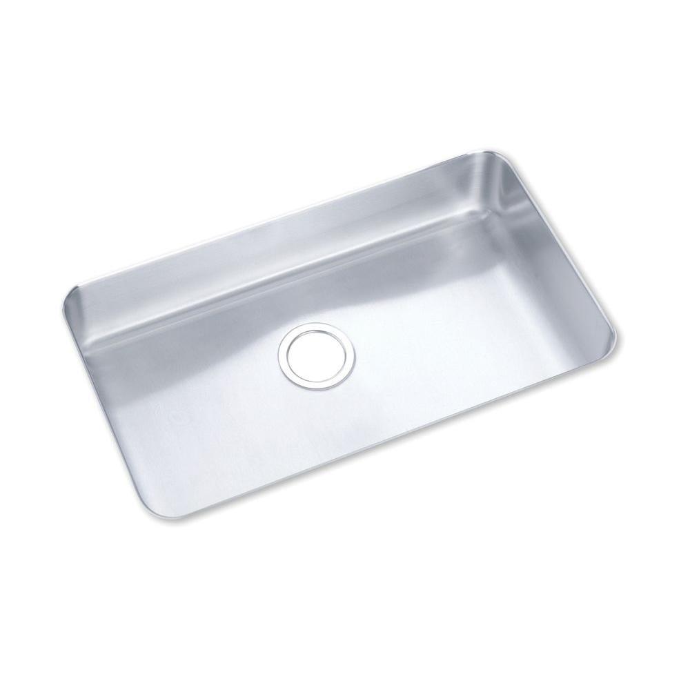 Elkay ELU2816 Lustertone Undermount Stainless Steel 29-1/2x17-1/2x7.5 0-Hole Single Bowl Kitchen Sink