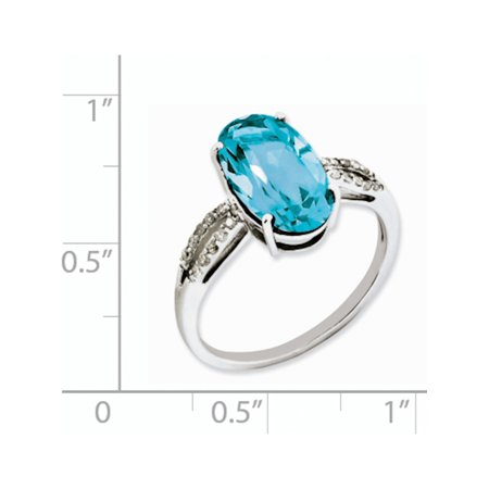 Sterling Silver Rhodium Oval Blue Topaz & Diamond Ring - image 1 of 2