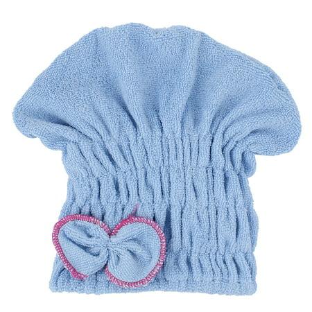 (Woman Gym Travel Shower Blue Microfibre Elastic Hair Fast Dry Cap Turban Towel)