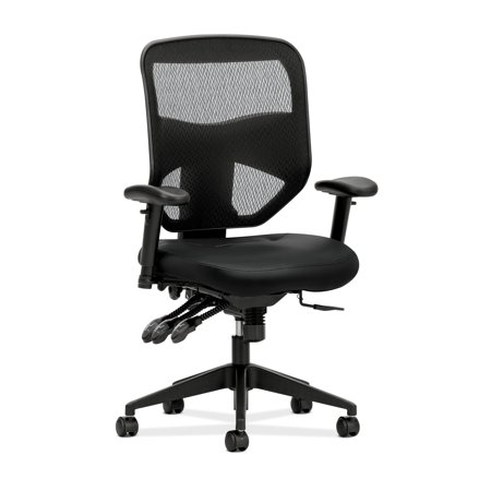 Sharp Series Leather - HON Prominent Series High Back Leather Task Chair - Mesh Computer Chair with Arms for Office Desk, Black (HVL532)