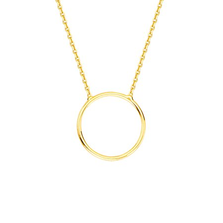 """14K Yellow Gold Circle Necklace. Adjustable Cable Chain 16"""" to 18"""""""