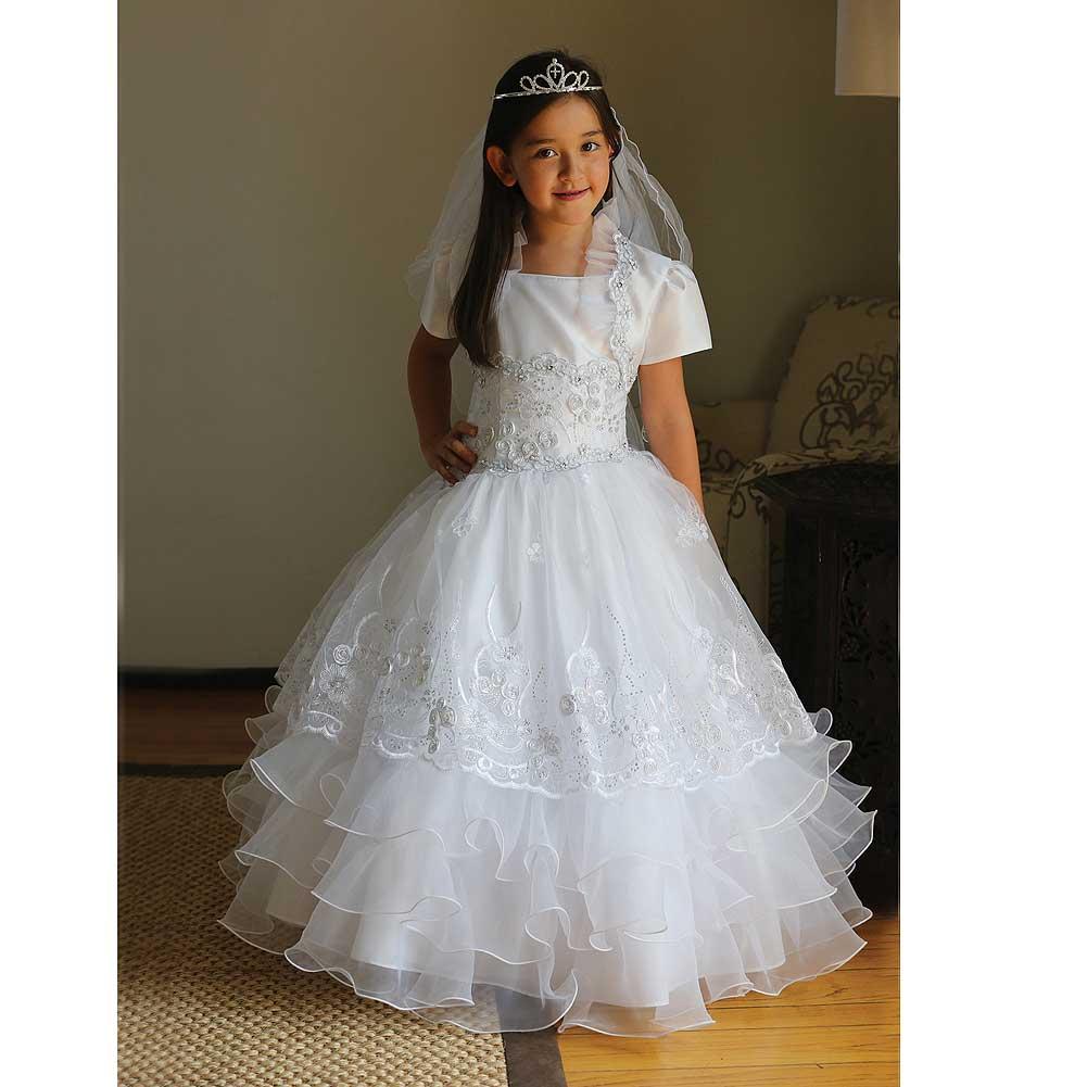 Angels Garment White Taffeta Organza Holy Communion Dress...