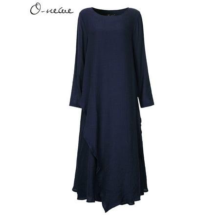 c886d3c39c8 O-NEWE - O-NEWE Ladies Dresses Crew Neck Vintage Kaftan Solid Long Sleeve Maxi  Dress - Walmart.com
