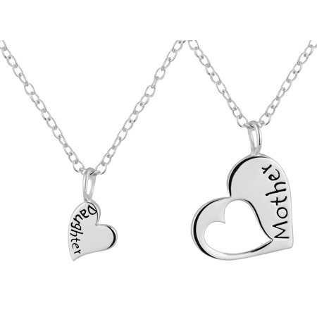 Mother Daughter Necklaces for 2: .925 Sterling Silver Heart Charm & Heart Cut Out