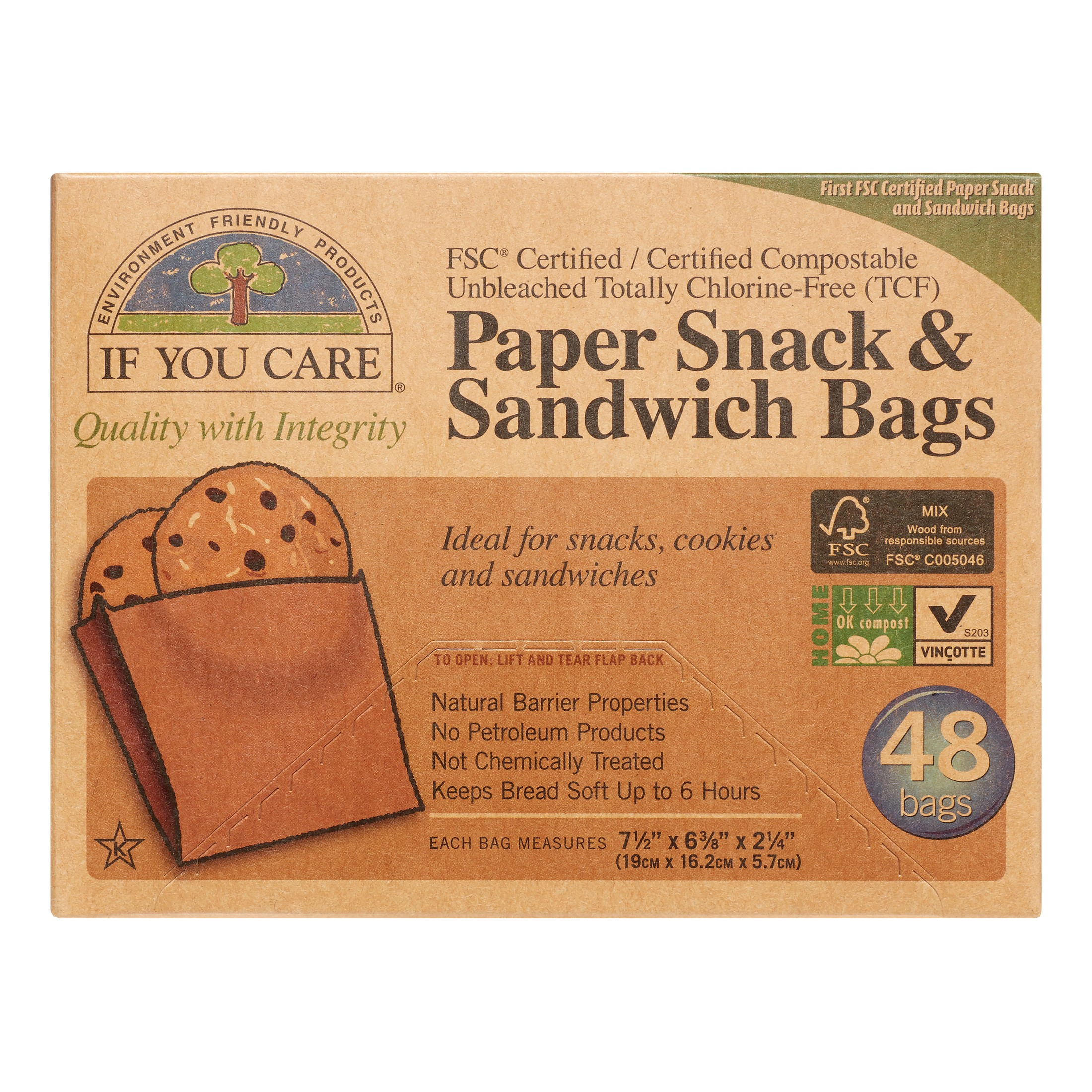If You Care Paper Sandwich and Snack Bags, Unbleached, 48 Ct