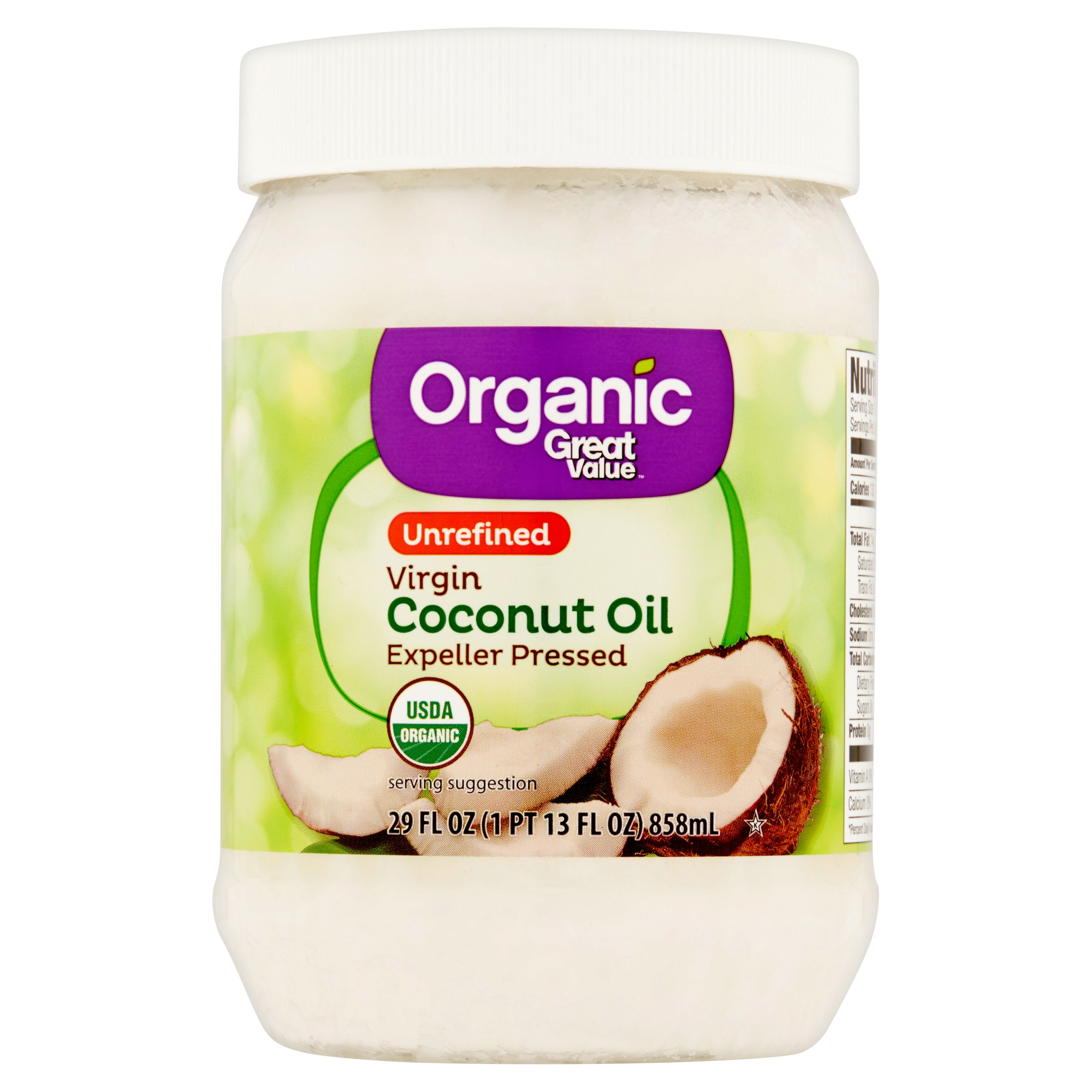 Great Value Organic Unrefined Virgin Coconut Oil, 29 oz