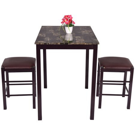 Costway 3 pcs counter height dining set faux marble table for Fake kitchen set