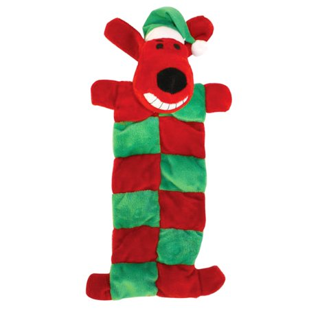Loofa Dog Christmas Squeaker Mat Dog Toy by Multipet,