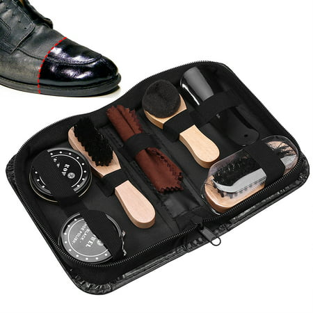 VBESTLIFE 8PCS Leather Shoes Care Tool Boot Polishing Cleaning Kit with Black & Neutral Shoe Polishes,Leather Shoes Care Kit, Leather Shoes Cleaning (Best Shoe Cleaning Kit For Jordans)