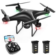 SNAPTAIN SP600 720P HD Camera Drone for Adults/Beginners, Wifi FPV,Voice Control RC Quadcopter with Altitude Hold, Headless Mode, Gravity Control, One Key Take off/Landing 3D Flips Drone Black