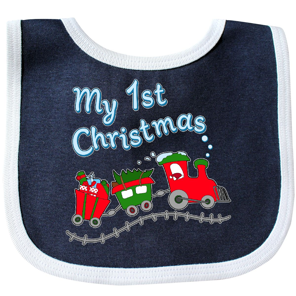 Inktastic My First Christmas Train With Presents Baby Bib Kids 1st Holiday Babys