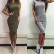 (Asian Size)Women Fashion Short Sleeve Round Collar Slim Solid Color Casual  Bodycon Dress 8a7c5c4b2