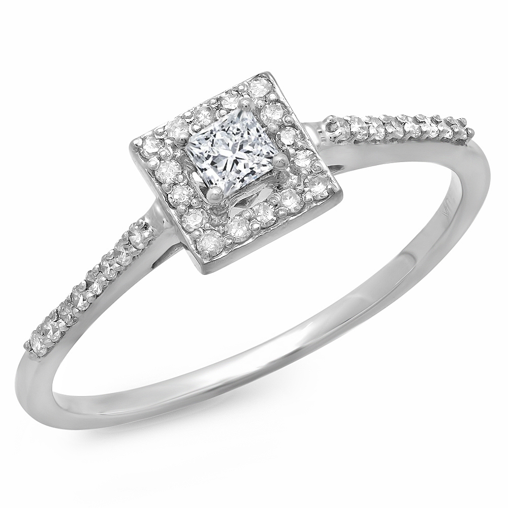 0.40 Carat (ctw) 10K Gold Princess & Round Cut Diamond Ladies Bridal Halo Engagement Ring